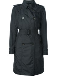 Moncler Padded Trench Coat Blue