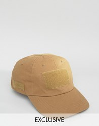 Reclaimed Vintage Baseball Cap With Velcro Tobacco Brown