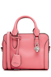 Alexander Mcqueen Grainy Calf Leather Mini Padlock Zip Around Shoulder Bag Rose