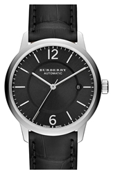 Burberry Automatic Alligator Leather Strap Watch 40Mm Black Silver