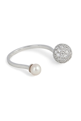 Delfina Delettrez 18Kt White Gold Sphere Ring With White Diamonds And Pearl