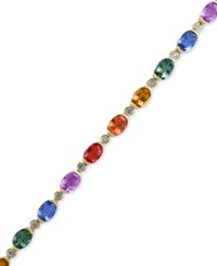 Effy Collection Watercolors By Effy Multi Color Sapphire 10 3 4 Ct. T.W. And Diamond 1 3 Ct. T.W. Bracelet In 14K Gold