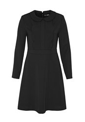 Hallhuber Rounded Collar Dress With Scalloped Edge Black