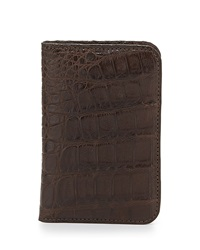 Santiago Gonzalez Crocodile Fold Over Card Case Brown