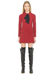 Red Valentino Stretch Cady And Silk Mousseline Dress