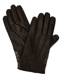 Armani Collezioni Black Logo Wool Lining Smooth Leather Gloves