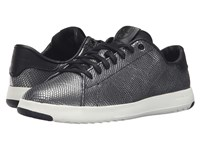 Cole Haan Grandpro Tennis Black Gunmetal Snake Women's Lace Up Casual Shoes