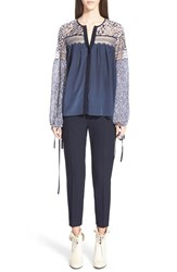 Chloe Women's Chloe Lace Yoke Polka Dot Silk Georgette Peasant Blouse