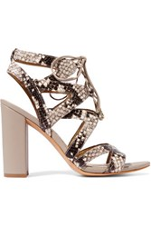 Sam Edelman Lace Up Snake Effect Leather Sandals Taupe