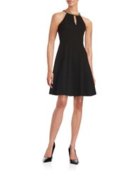 Ivanka Trump Plus Chain Neck Fit And Flare Dress Black