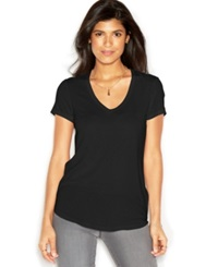 Rachel Rachel Roy Short Sleeve V Neck Solid Tee Black
