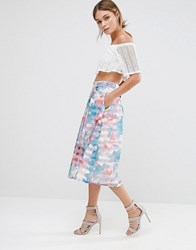 Oasis Digital Floral Midi Skirt Ivory White