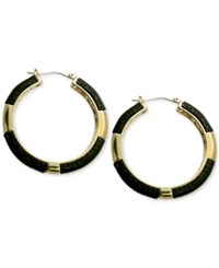 Guess Gold Tone Faux Leather Colorblocked Hoop Earrings