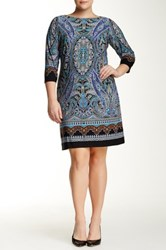 London Times 3 4 Length Sleeve Scroll Paisley Dress Plus Size Blue
