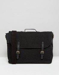 Asos Satchel In Black Canvas With Leather Straps Black