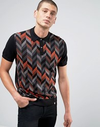 Pretty Green Knitted Polo With Pattern Front In Slim Fit Black Black