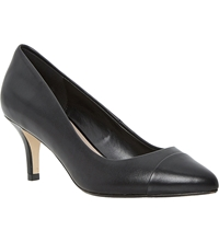 Dune Anne Toe Capped Mid Heel Leather Court Shoes Black Leather