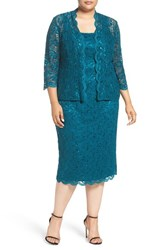 Alex Evenings Plus Size Women's Lace Dress And Jacket Deep Teal