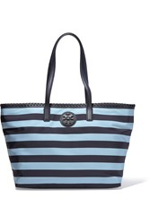 Tory Burch Marion Leather Trimmed Striped Shell Tote Blue