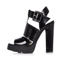River Island Womens Black Thick Strappy Heeled Sandals