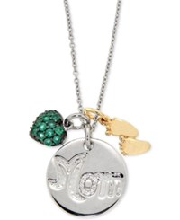 Macy's Emerald 3 4 Ct. T.W. And Diamond Accent Mom And Baby Feet Pendant Necklace In Sterling Silver And Gold Plated Sterling Silver