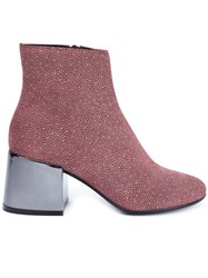 Maison Martin Margiela Mm6 Metallic Heel Ankle Boots Red
