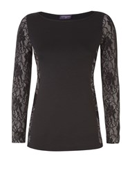 Hotsquash Lace Insert Top With Thinheat Black