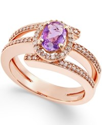 Macy's Purple Sapphire 1 2 Ct. T.W. And Diamond 1 3 Ct. T.W. Ring In 14K Rose Gold