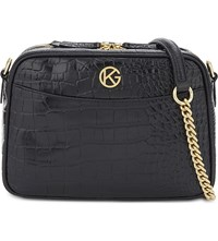 Kurt Geiger London Plum Leather Cross Body Bag Black