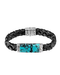 Woven Station And Turquoise Stone Bracelet John Hardy Silver