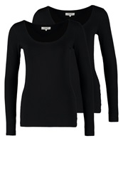 Zalando Essentials 2 Pack Long Sleeved Top Black Black