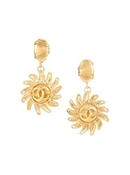 Chanel Vintage Cc Logo Swirl Clip On Earrings Metallic
