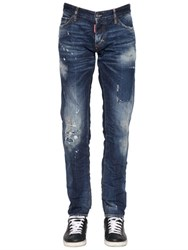 Dsquared 18Cm Slim Writings Cotton Denim Jeans