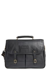 Men's Barbour Leather Briefcase Black
