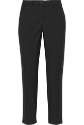 Miu Miu Cropped Stretch Wool Gabardine Pants Black
