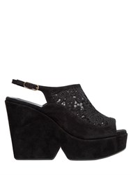 Robert Clergerie 110Mm Self Portrait Lace And Suede Wedges