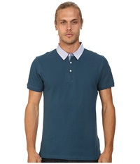 7 Diamonds Center Stage Polo Dark Teal Men's Short Sleeve Pullover Blue