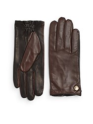 Vince Camuto Two Tone Leather Gloves Mahogany