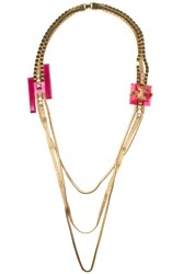 Erickson Beamon Schiaparelli Pink Necklace Gold