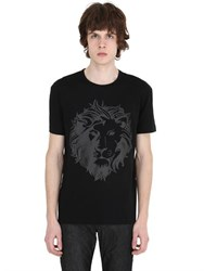 Versus Vinyl Lion Printed Cotton Jersey T Shirt