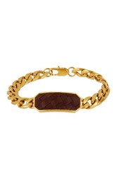 Cole Haan Woven Leather Station Chain Bracelet Metallic