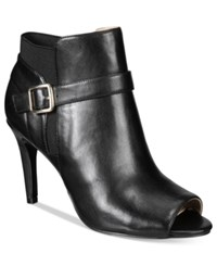 Marc Fisher Shimmee Peep Toe Booties Women's Shoes Black Leather