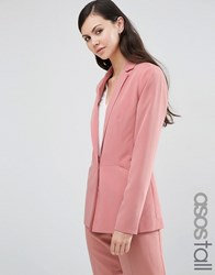 Asos Tall Soft Lux Longerline Occasion Blazer Rose Pink