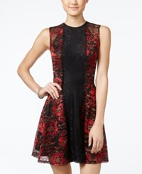 Material Girl Juniors' Floral Lace Fit And Flare Dress Only At Macy's Black Combo