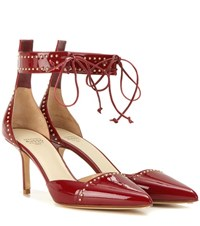 Francesco Russo Embellished Patent Leather Pumps Red