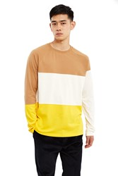 Esprit By Opening Ceremony Colorblock Long Sleeve T Shirt Brown White Yellow