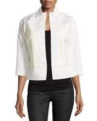 Halston Heritage Cropped Leather Jacket Cream