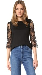 Leur Logette Lace Sleeve Top Black