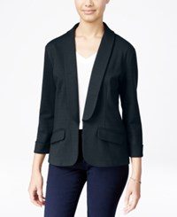 Say What Juniors' Shawl Collar Knit Blazer Dress Blue