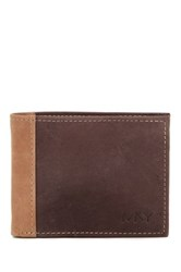 Marc New York Two Tone Suede Billfold Wallet Brown